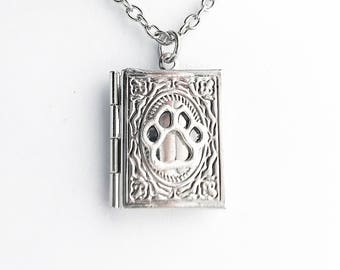Paw Print Locket Necklace / Book Locket Silver Dog Paw Pendant Book Lover Gift New Pet Owner Puppy Paw Print Photo Locket