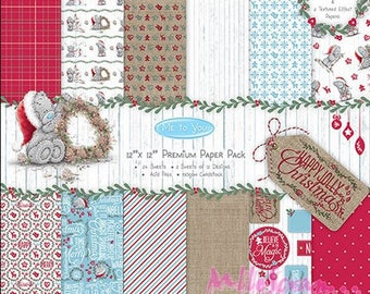 """Printed paper 30,5 X 30.5 cm, collection """"Me to You"""" Christmas collection, set of 24 sheets, scrapbooking paper"""