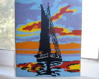 Sailboat Needlework, Sunset and Sailboat Needlework Canvas, Beach Decor, Ocean Decor, Nautical needlework,  by mailordervintage on etsy