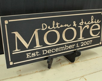 Last Name Sign, Family Name Sign, Wood Signs, Personalized Gift, Wedding Gift, Housewarming Gift, Established Sign