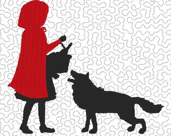 Little Red Riding Hood - Embroidery Design File - multiple formats - 3 sizes- instant download