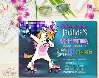 Roller Skating Birthday Invitation, Unicorn Birthday Party, Invitation, Skating Party, Skate Party, Dabbing Unicorn