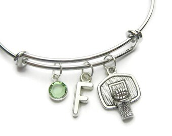 Basketball Bangle, Basketall Bracelet, Sports Bangle, Basketball Lover Bracelet, Basketball Coach Bangle, Basketball Jewelry, Personalized