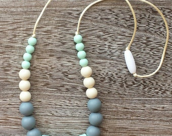 Silicone Teething Necklace Silicone Nursing Necklace Mint Green BPA Free, Food Grade Materials