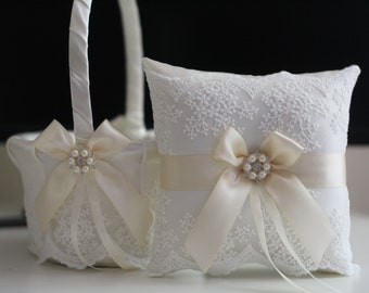 Ivory Wedding Basket \ Lace Wedding Pillow \ Cream Flower Girl Basket \ Ivory Ring bearer Pillow \ Beige Wedding Pillow Basket Set