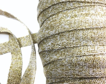 5 YARDS Knitted Gold Ribbon Trim