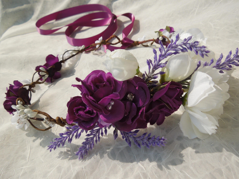Purple Flower Crownwhite And Purple Bridal Crownpurple
