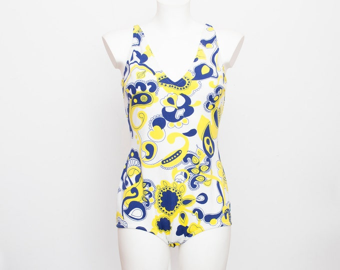 NOS Vintage swimsuit Size S blue white and yellow