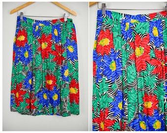 Vintage Petite Hawaiian Skirt, Vintage Clothing, 90s Clothing, Petite Large XL, 80s Clothing, Vintage Clothes Floral Hawaiian, Colorful