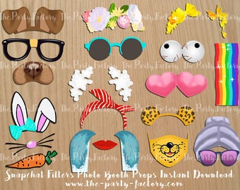Snapchat Filters 3 Photo Booth Props Instant Download Printables, Digital File, PDF