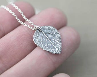 Silver Leaf Pendant Necklace | Rustic Sterling Silver Necklace Gift for Women | Outdoors Gift | Handmade Original Jewelry by Burnish