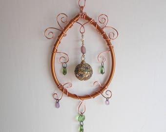 Copper Sculpture, Mobile, Home Decor, New Age Decor, Window Hanging, Wall hanging, Sun Catcher, Ornament, Metaphysical, Garden Art,Moon Drop
