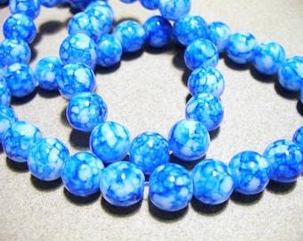 Jade Glass Beads Blue  Round 8mm