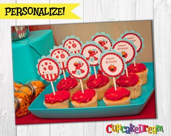 Elmo Cupcake Toppers Sesame Street Birthday, Set of 12