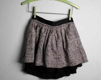 Gray and Black Mini Skirt