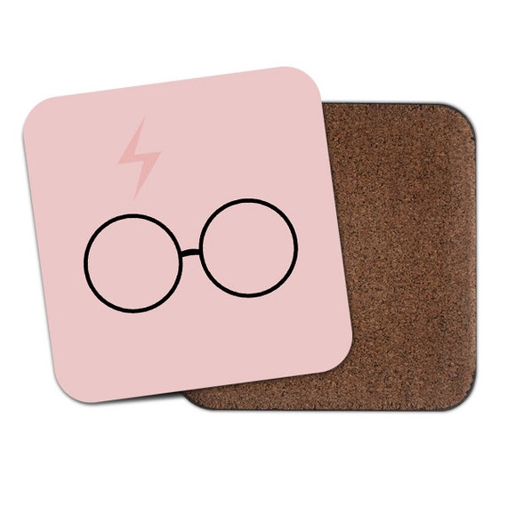 Harry P inspired pink scar and glasses coaster - Cute coaster 2S017