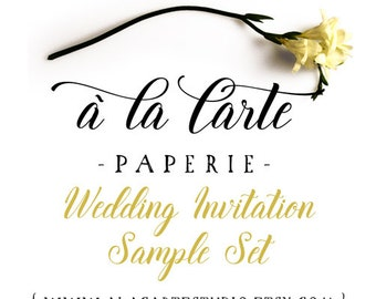 A Set of Wedding Invitations Samples from A la Carte Paperie: invitation, RSVP and info card