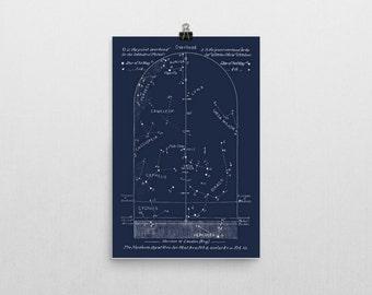 Celestial Print Sky Map February,  Constellations Northern Hemisphere Star Map, Ursa Major, Cassiopeia, Cameleop, Cepheus
