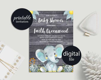 Printable Baby Shower Invitation Elephant Baby Shower Invitation Boy Baby Shower Invitation, Safari Jungle Baby Shower Invitation Rustic