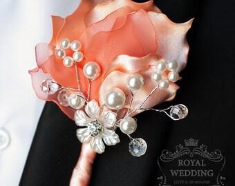 Wedding Boutonniere Jewelry Boutonniere Coral Wedding Buttonhole Wedding Boutineer Grooms Boutonniere Coral Boutonniere Fabric Boutonniere