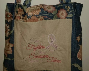 tote bag hope for the fighters peace for the  survivors prayers for the taken shopping bag reusable grocery bag cancer awareness