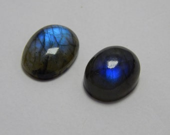 Natural Labradorite Gemstone Smooth Loose Cabochon Oval Shape Blue Power Flash Approx Best Quality On Wholesale Price.