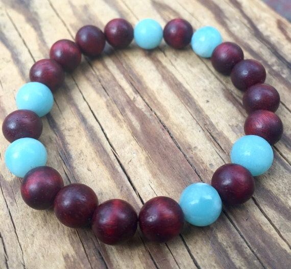 Amazonite and Rosewood Stretch Bracelet, Yoga Jewelry, Stackable Bracelet, Stress Relief Wrist Mala Beads, Minimalist