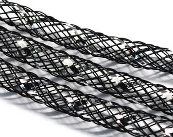 1 meter black tubular NET and silver filament, 4mm