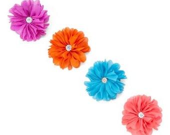 Set of Four Chiffon Flower Hair Clips