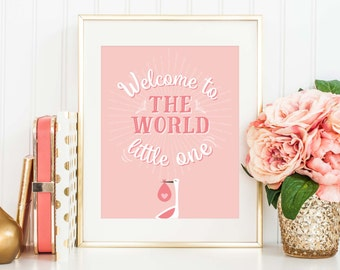 New Baby Gift, Printable, Baby Girl Gift, Nursery Wall Art, Welcome to the World, New Baby Print, Baby Shower Gift, New Baby Frame