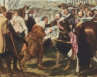 The Surrender of Breda (The Lances) by Velazquez - a Frameable Vintage 1954 Art Print