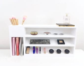 Makeup Shelf | Makeup Storage | Wall Mounted Makeup Organizer |  Wood Makeup Vanity Set | Makeup Brush Holder | Makeup Vanity | Beauty Gift