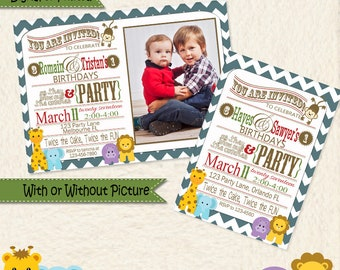 Siblings Joint Party Jungle Themed Chevron Invitations • Jungle Animal • Shared Birthday Invite • Brothers Birthday • Sisters Birthday • 33A