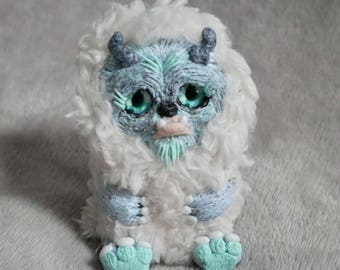 Handmade cute furry woodland fantasy polymer clay troll creature