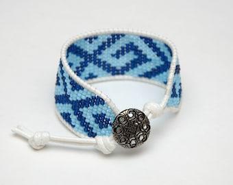 Girlfriend Gift for women gift Bead Loom bracelet Blue Bead bracelet Handmade bracelet Tribal bracelet Beaded Cuff bracelet Ethnic bracelet