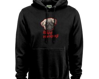 Pug Hoodie Hood, Bah Humpug Hoodie For Ladies - Ladies hoodie with Pug, Dog, Animal Hood