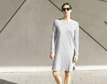READY TO SHIP - Black and White Striped Tunic Dress, Tunic Top, Striped Dress, Long Sleeve Spring Dress, Minimalist Dress, T-Shirt Dress