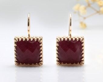SUMMER SALE - rose gold earrings,ruby earrings,square earrings,July birthstone earrings,pink metal earrings,Christmas gift