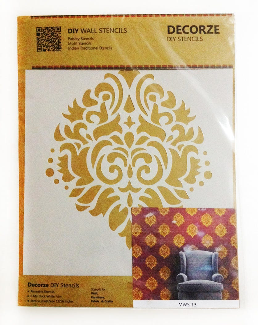 Paisley Motif Stencils for DIY Crafts Painting