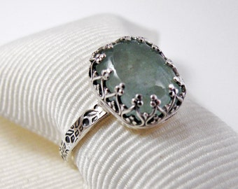 Ring - Aquamarine and Sterling Silver Natural Cabochon Gallery Setting