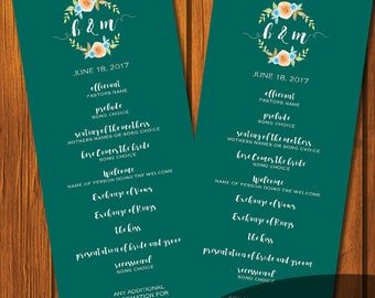 Turquoise Fall Watercolor Wedding Program / Wedding Program / Digital File / Print At Home / Order of Service / Order of Ceremony