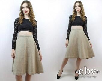 High Waisted Skirt High Waist Skirt Oatmeal Skirt Work Skirt Secretary Skirt 70s Skirt 70s Knee Skirt 70s Skirt Vintage Skirt 1970s Skirt
