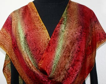 Copper Terracotta, Brown, Burgundy Hand Painted Silk Scarf AUTUMN COLORS, in 3 SIZES, by Silk Scarves Colorado. Anniversary, Mother Gift.