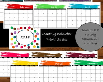 2018 Monthly Calendar Printable- Single Page