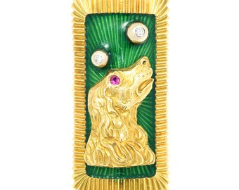 Vintage Dog Ring with Diamonds & Sapphire 14K Gold Green Enamel