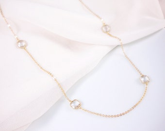 Crystal bezel long necklace, station necklace, 40 inches available in gold and silver