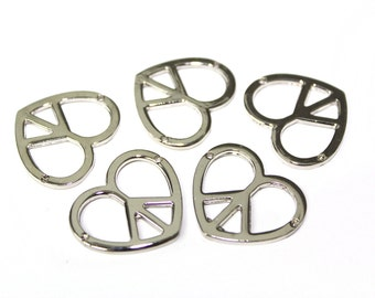 5 PCS Silver  Metal Peace Beads Buckles Pendants  for Crafts, Embellishments