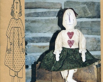 "FREE US SHIP Bless Your Heart Country Crafts 22"" Doll Cloetta Primitive Folk Art Uncut New Old Store Stock Sewing Pattern Ragdoll cloth"