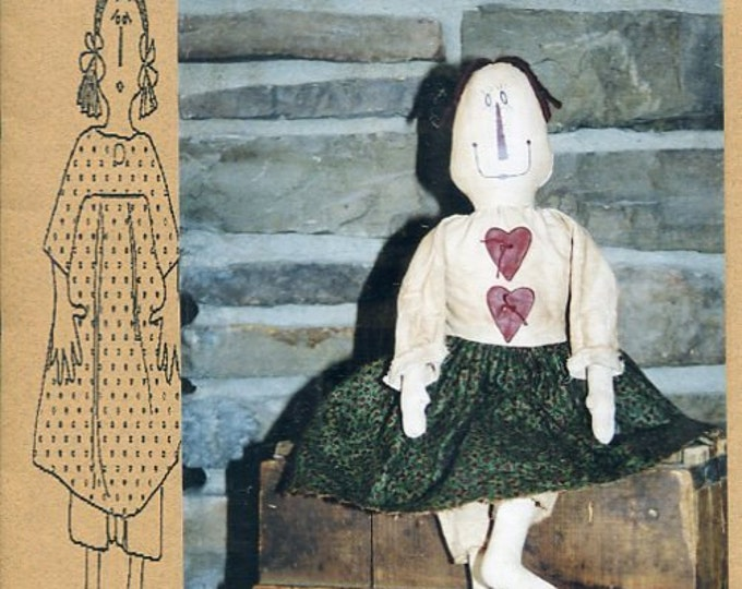 """FREE US SHIP Bless Your Heart Country Crafts 22"""" Doll Cloetta Primitive Folk Art Uncut New Old Store Stock Sewing Pattern Ragdoll cloth"""