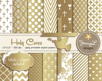 Gold Baptism Digital Papers, First Communion, Religious, Christening, Holy Week Cross and Dove Baptismal Clipart, Dedication, Planner